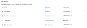 The Dropbox Linked Apps section